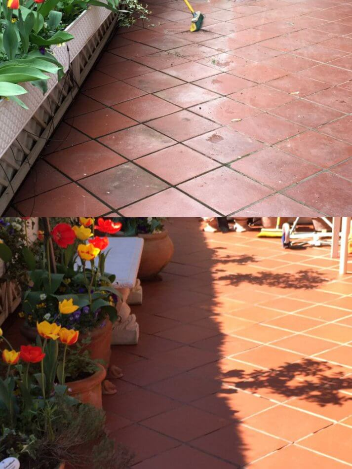 Außenbereich -Terrasse reinigen